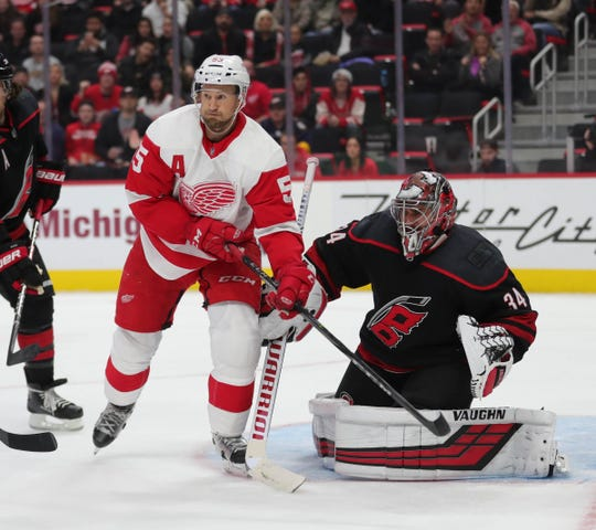 Detroit Red Wings defenseman Niklas kronwall waits for a shot against Carolina Hurricanes goalie Petr Mrazek during the third period Monday, Oct. 22, 2018 at Little Caesars Arena in Detroit.