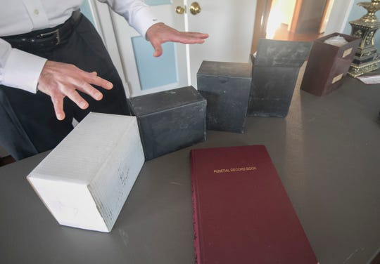 Verheyden Funeral Home funeral director Brian Joseph is helping to process cremains found at Cantrell Funeral Home.