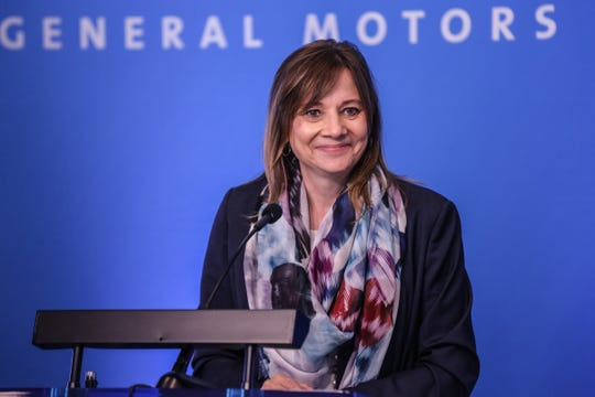 Mary Barra, chairman and CEO of General Motors speaks before the General Motors shareholder's meeting at the Renaissance Center in Detroit on Tuesday, June 12, 2018.