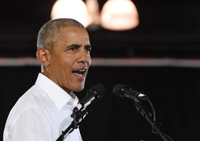 Former U.S. President Barack Obama speaks during a get-out-the-vote rally at the Cox Pavilion as he campaigns for Nevada Democratic candidates on Monday.