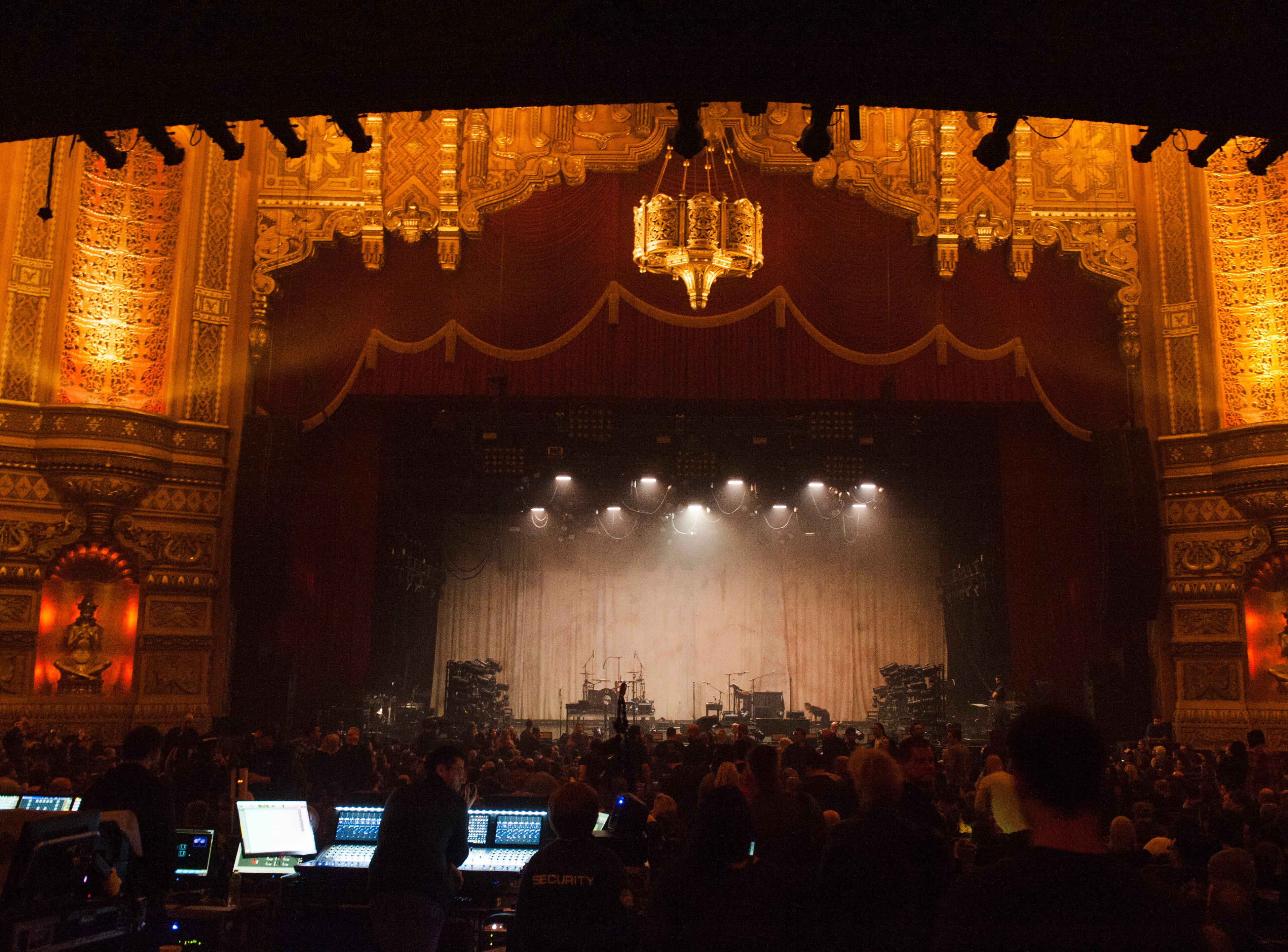 The stage inside the ornate Fox Theatre  awaits industrial hard rock band Nine Inch Nails.