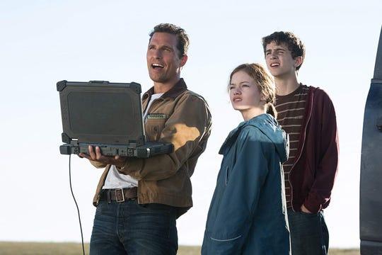 "Matthew McConaughey, Mackenzie Foy and Timothee Chalamet in ""Interstellar."""