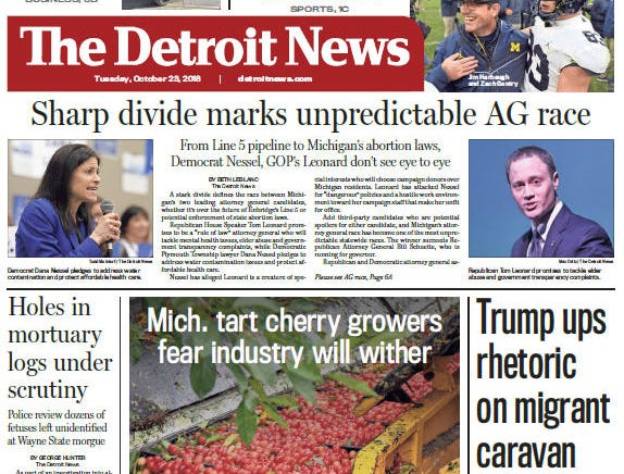 Front page of The Detroit News on Tuesday, October 23, 2018.