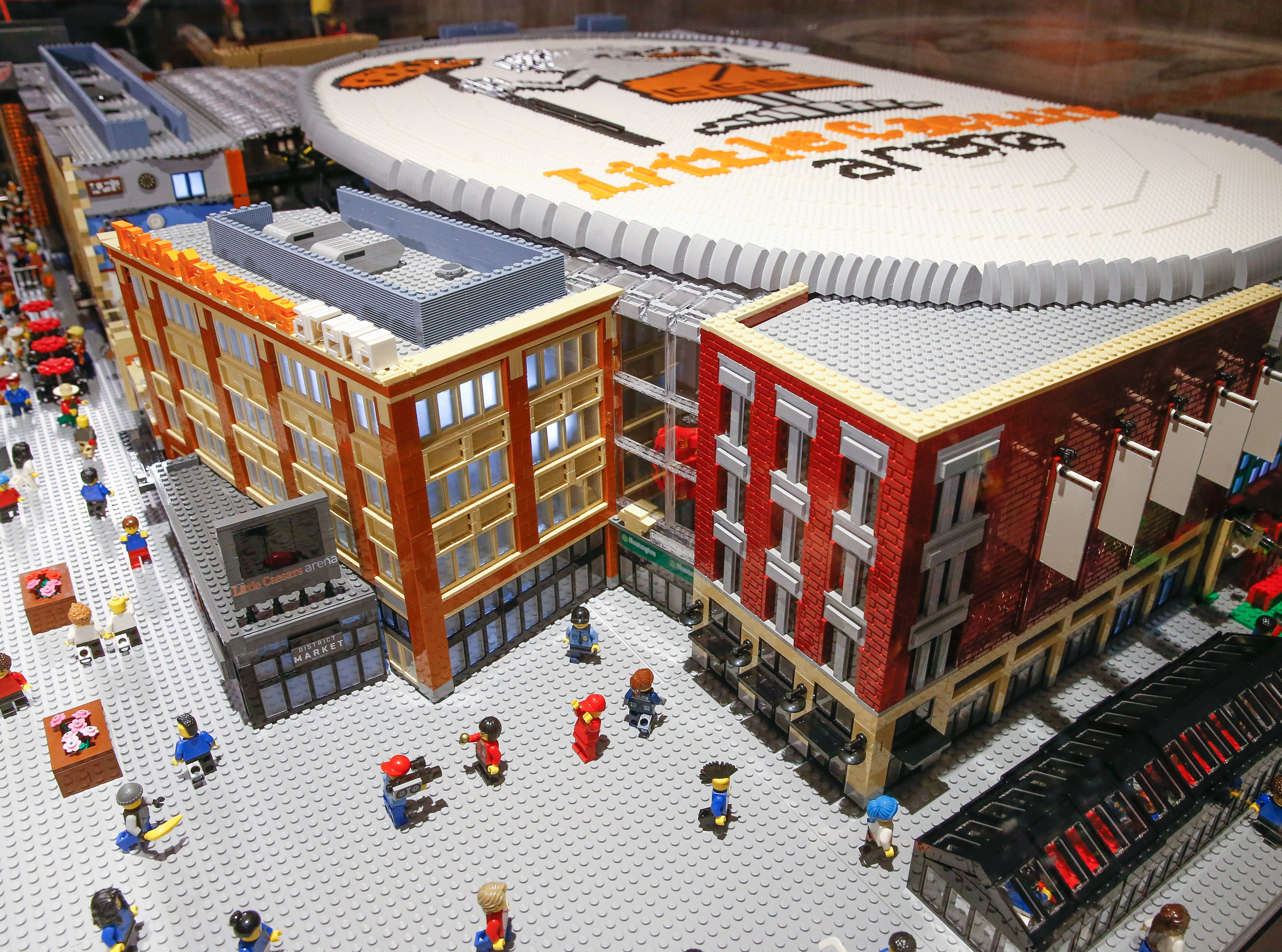 Looking down at the Chevrolet Plaza, represented in LEGO.
