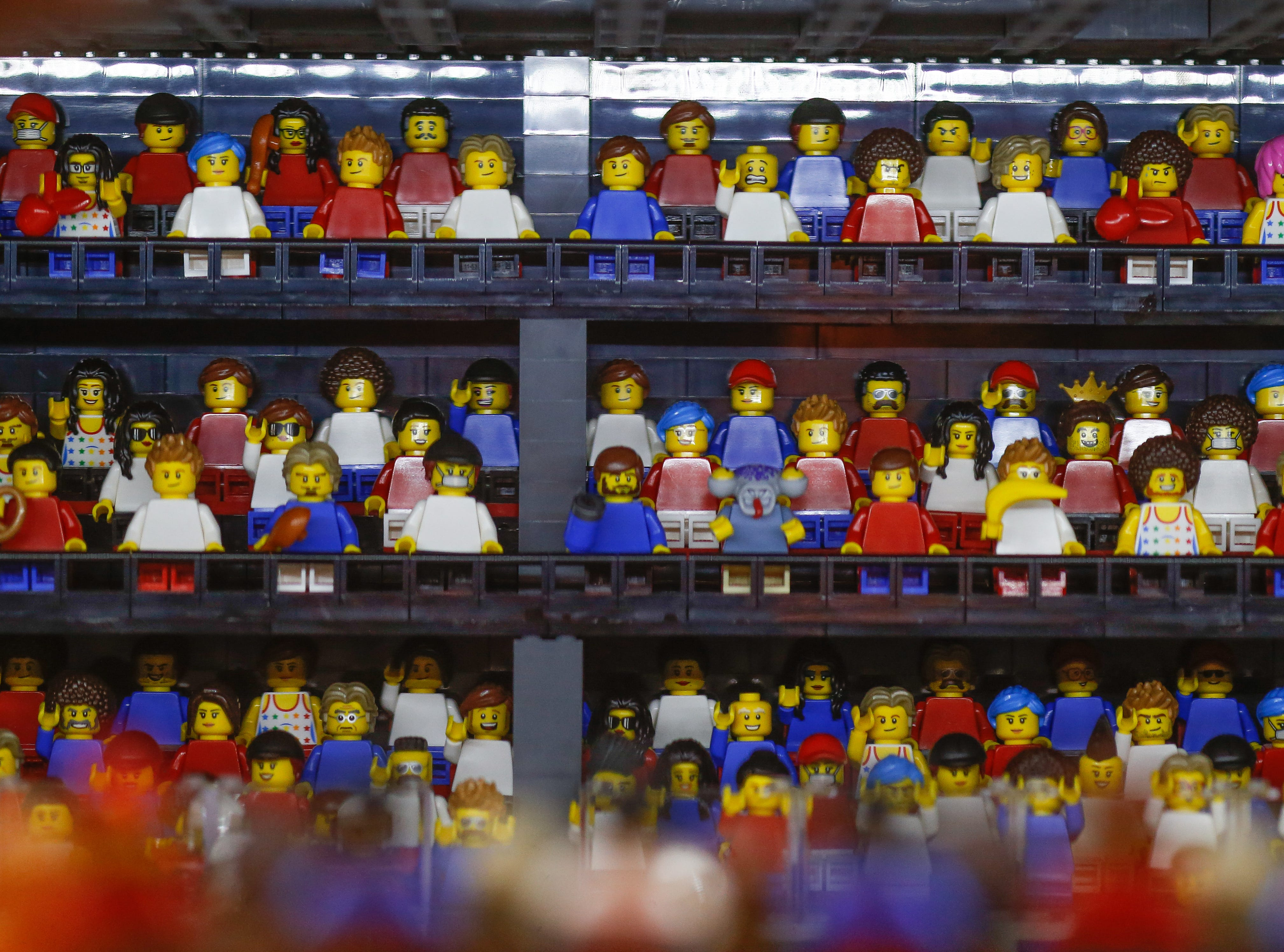 A view of the varying reactions of fans watching the game. The model features more than 600 LEGO mini-figures.