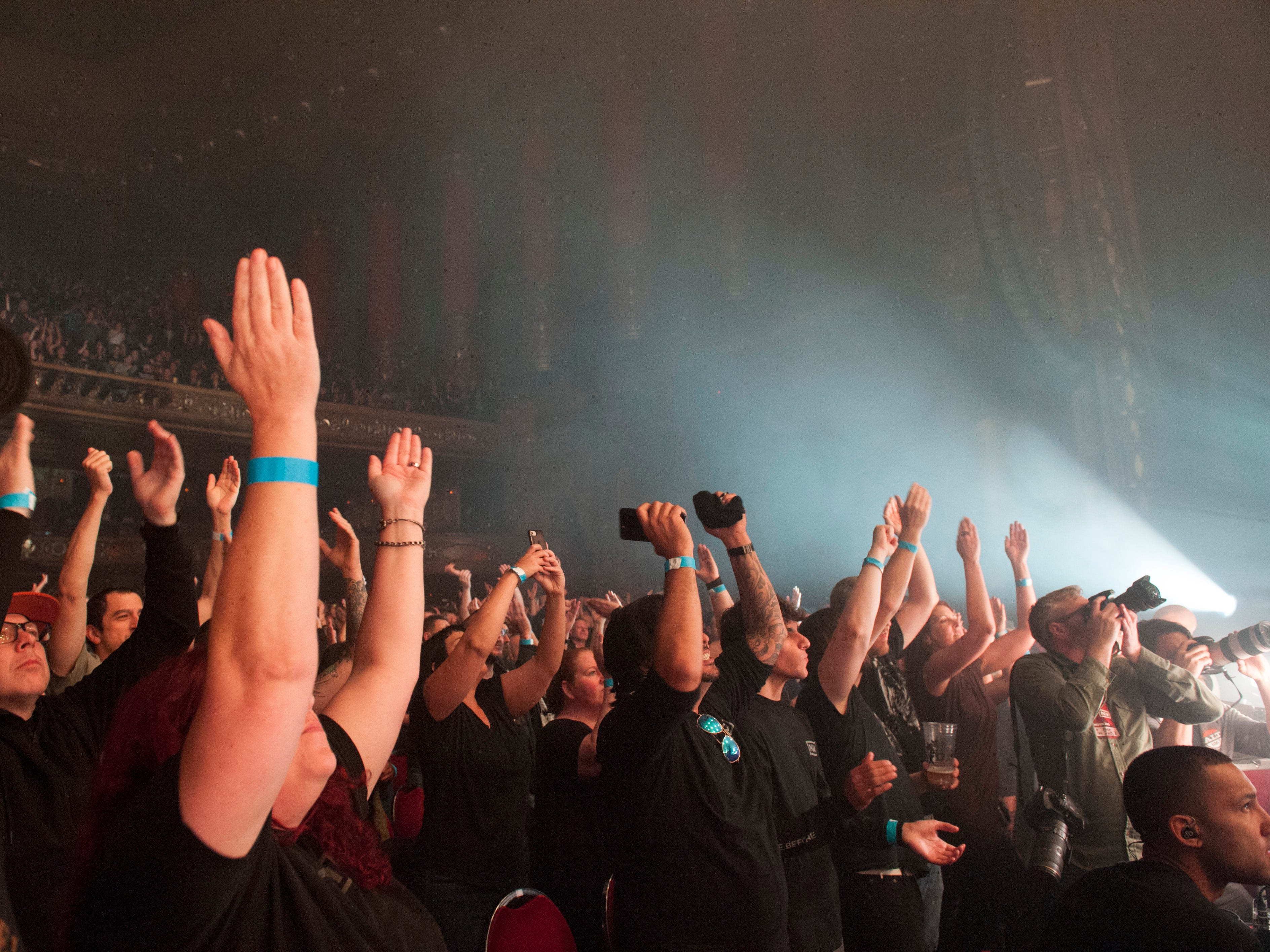 The audience responds during Nine Inch Nails' performance Monday at the Fox Theatre.