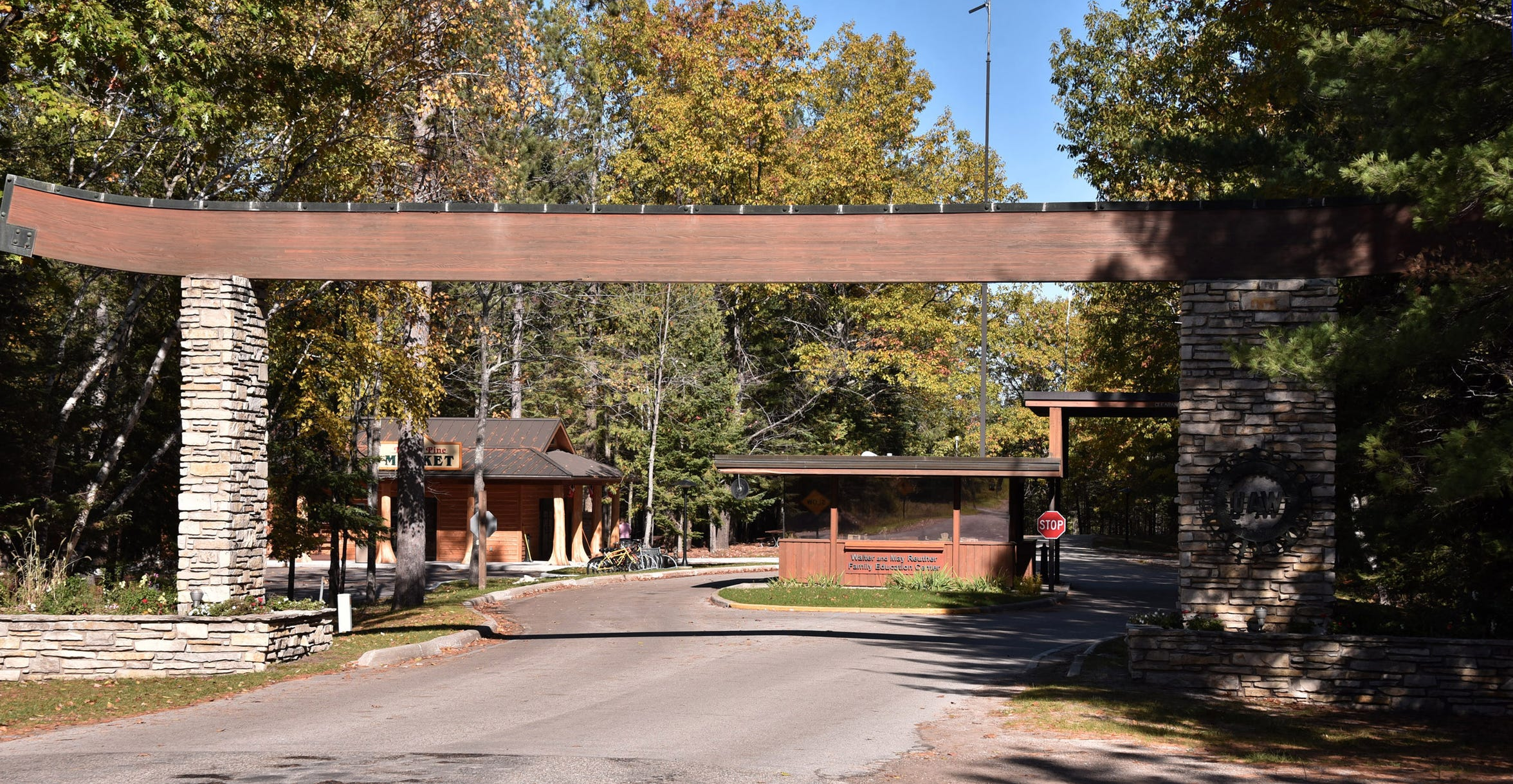 The entrance to the UAW property on Black Lake, south of Cheboygan, is seen on October 22, 2018.