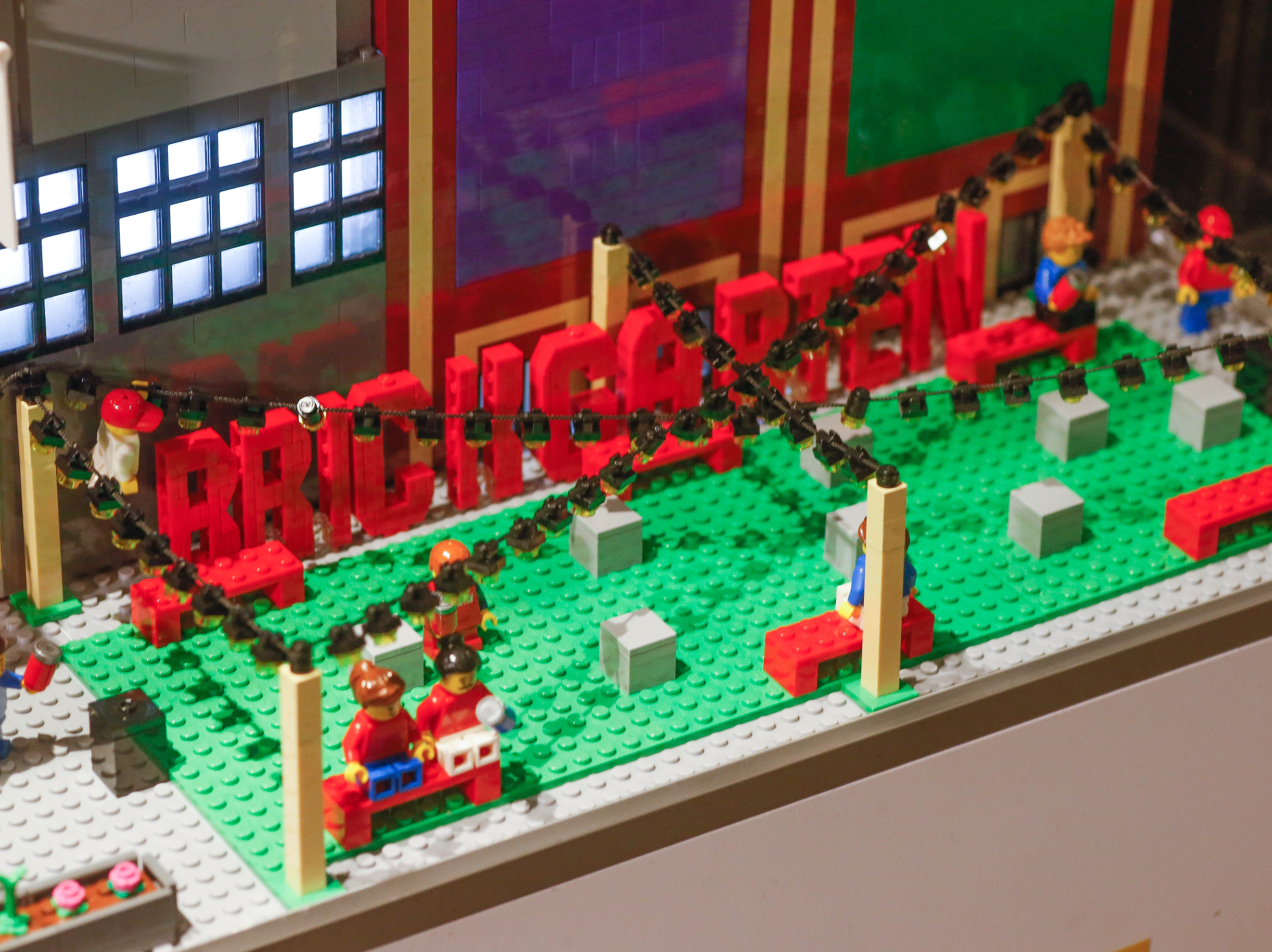 "The Biergarten outside Little Caesars Arena has been replaced with a ""Brickgarten."""
