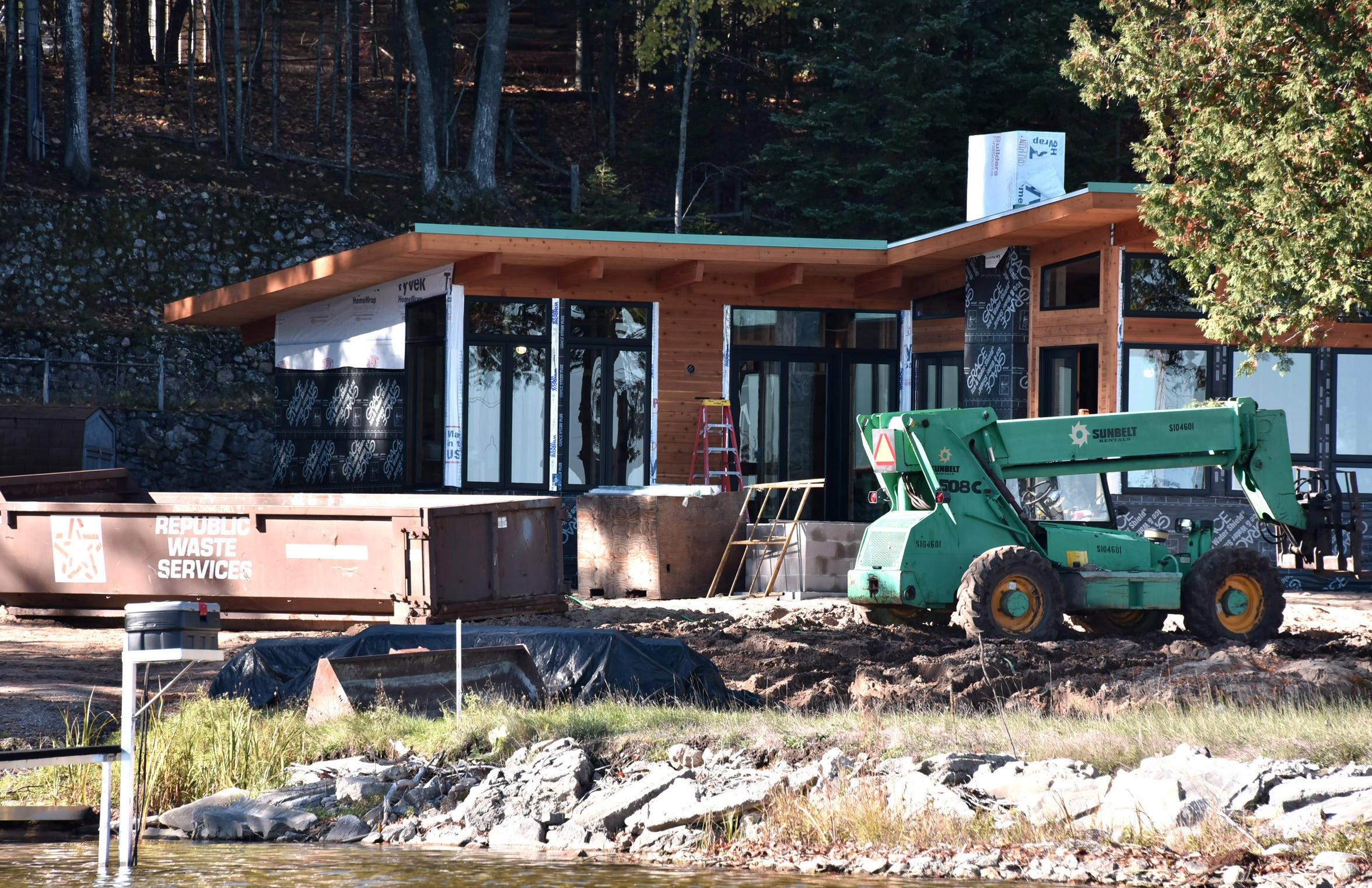 Construction is ongoing on a new cottage on Black Lake for retired UAW President Dennis Williams.
