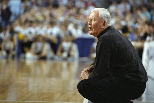 St. Louis Coach Charlie Spoonhour yells instructions during the NCAA East Regional Tournament against Wake Forest, Saturday, March 18, 1995 at the Baltimore Arena in Baltimore, Maryland.