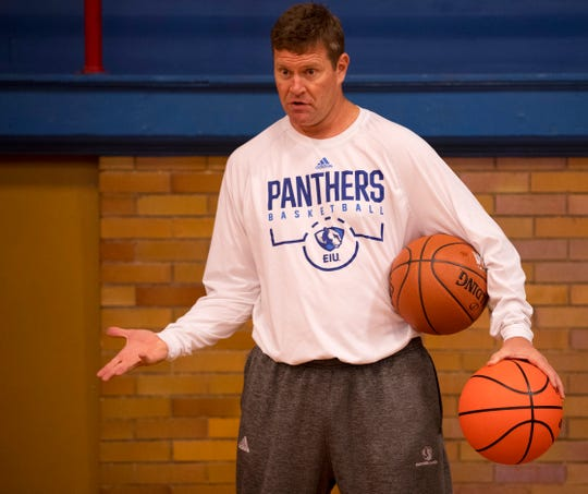Eastern Illinois Men's Basketball Coach Jay Spoonhour coaches-up his charges at the Ohio Valley Conference Basketball Youth Clinic at the Downtown YMCA Monday afternoon.