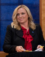 Indiana State Representative Wendy McNamara prepares for her debate against challenger Stephen Folz at the WNIN studio Monday night.
