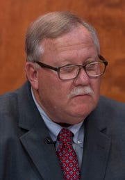 County commissioner candidate – District Two – Mike Duckworth prepares for the start of his debate against Jeff Hatfield at the WNIN studio Monday night.