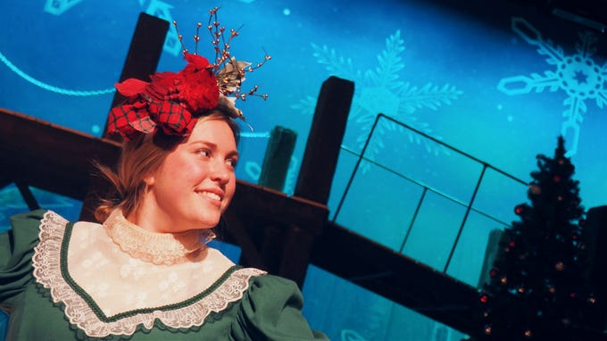 "Britt Rasner portrays Mrs. Fezziwig during rehearsals Monday for ""A Christmas Carol,"" which opens on Nov. 1 at the Fond du Lac High School Performing Arts Center."