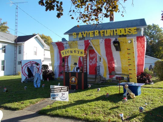 The Sawyer Fun House won the Clyde Halloween Home Decorating Contest.