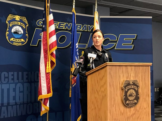 Erin Bloch, behavioral health officer with the Green Bay Police Department, speaks during a Tuesday news conference about how adding a social worker would help the department better respond to mental health crisis situations. The new position is part of the county's 2019 budget proposal which will be discussed Oct. 31 during the county's annual budget hearing.