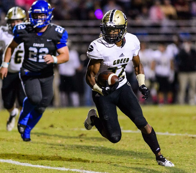Greer High Shrine Bowl running back Dre Williams (22) has committed to Marshall University.