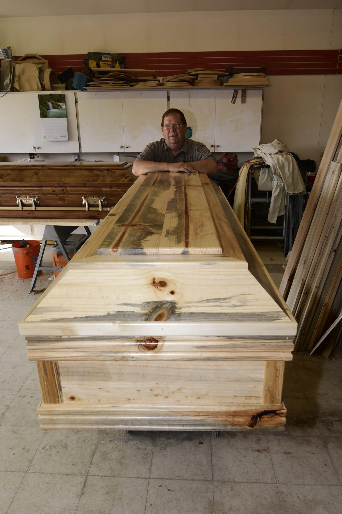Montana casket maker Brad Opheim Sun River pine beetle blue pine alder