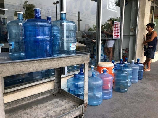 Guam residents get water in Yigo ahead of Typhoon Yutu