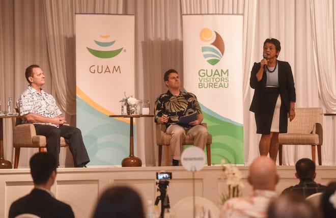 Gubernatorial candidate Lou Leon Guerrero speaks during a gubernatorial forum at the Guam Visitors Bureau's Quarterly Membership Meeting in the Lotte Hotel Guam, Oct. 23, 2018.