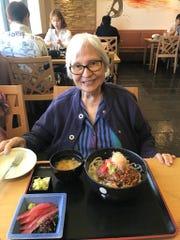 Sr. Mary Jeanette Leon Guerrero enjoys a birthday lunch in June 2018.