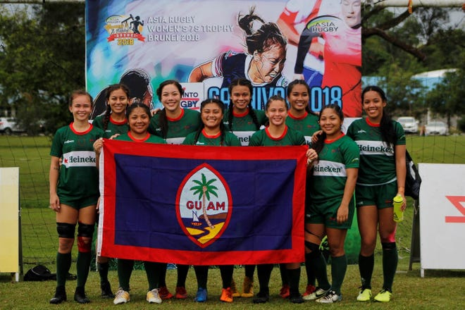 Team Guam women's 7s team comprises Olivia Elliott, Captain, Paige Surber, Dyonii Quitigua Tiffany Tallada, Jalana Garcia, Lavina Terlaje, Rosae Calvo, Patrisha Manlulu, Erica Quichocho, Kayla Taguacta, and Lavana Terlaje.