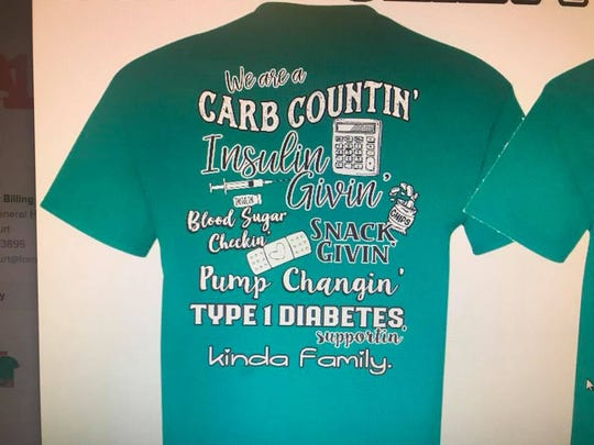Addie Burt, 7, of Petal, who has type 1 diabetes, plans to enter this T-shirt in the T-shirt contest at the Walk for Diabetes in Hattiesburg on Sunday, Oct. 28, 2018