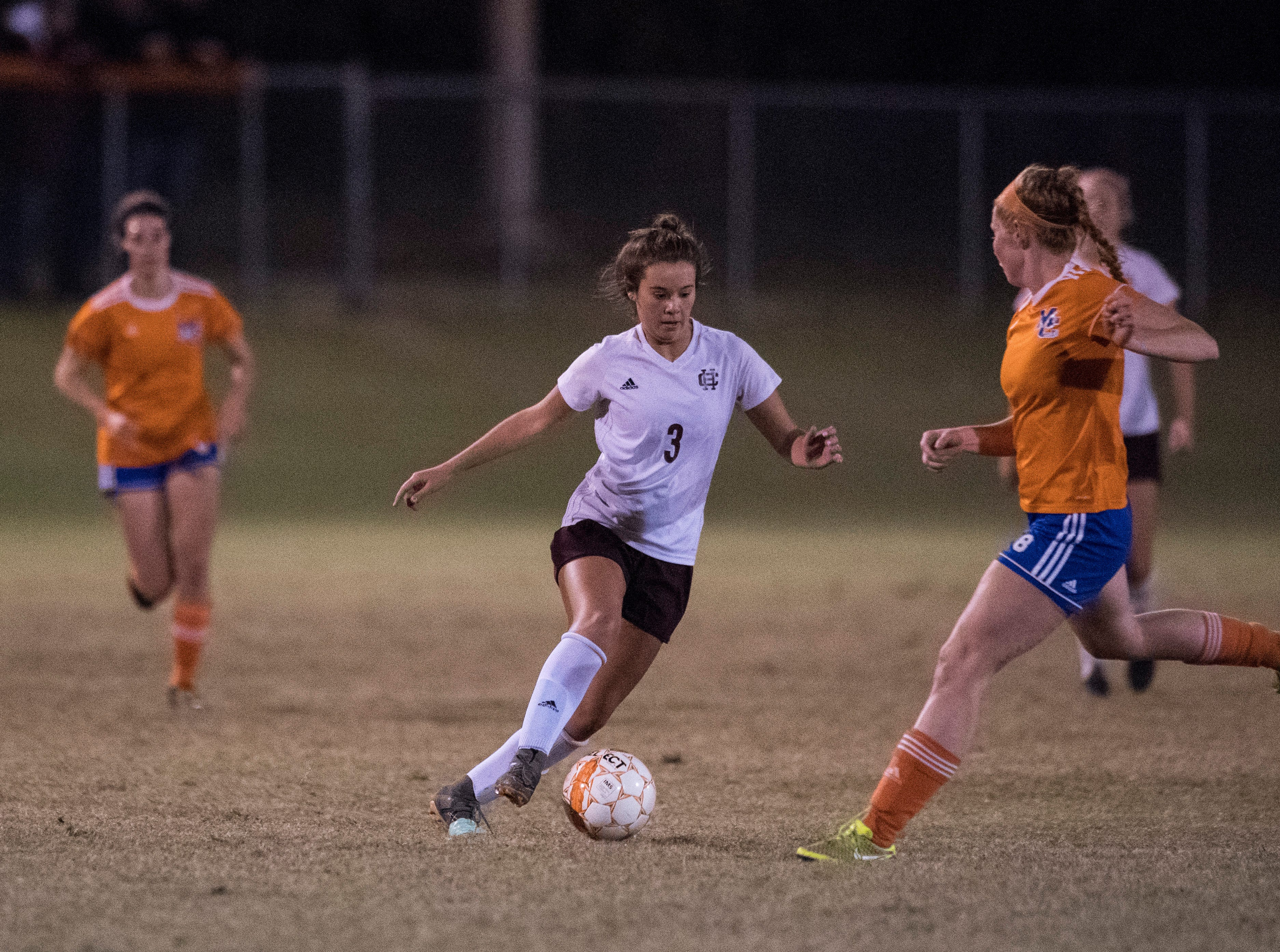 Henderson's Maggie Sauer (3) controls the ball during the first round of the KHSAA state tournament at Marshall County High School Monday, Oct. 23, 2018.