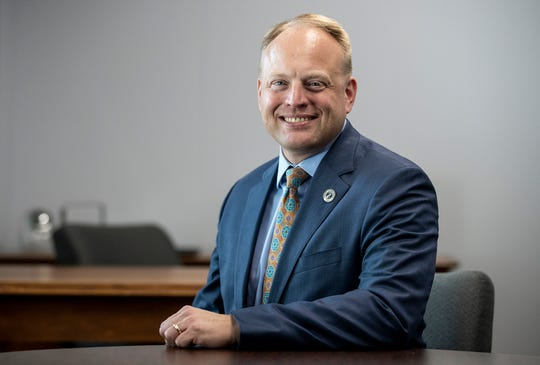 """Indiana solicitor general Thomas Fisher poses for a portrait in Indianapolis, Wednesday, Sept. 26, 2018. On November 28, 2018, Thomas Fishers, representing the State of Indiana, and a lawyer for Tyson Timbs will argue whether Eighth Amendment protection from """"excessive fines"""" applies to civil forfeitures at the state level, in front of the U.S. Supreme Court."""