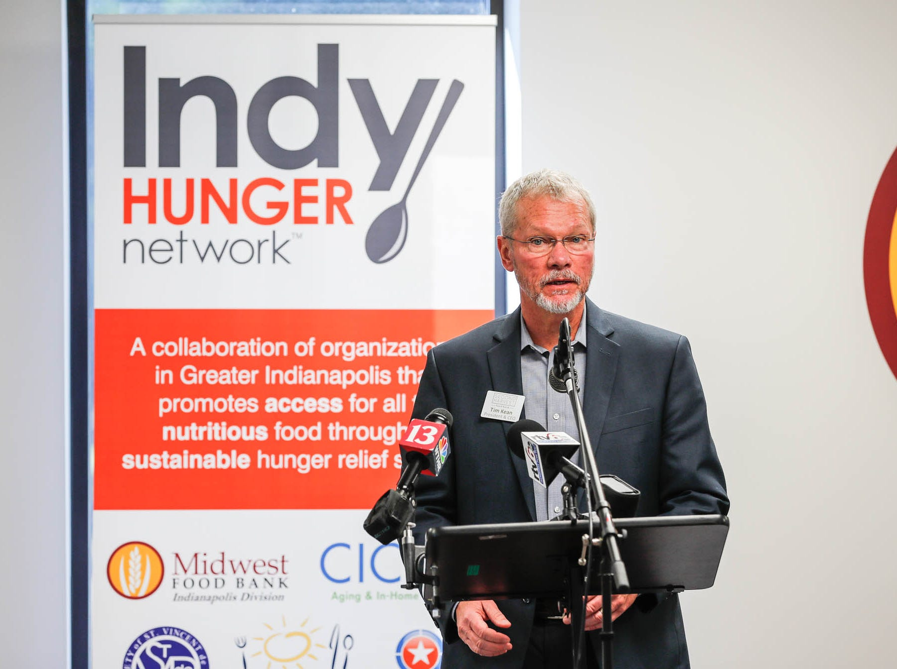 President & CEO of Second Harvest Food Bank, Tim Kean, speaks during a press conference announcing the expansion of the Food Drop program, which partnered with Indiana's largest hunger relief agencies to make it easier for truck drivers to donate store-rejected food on Tuesday, Oct. 23, 2018.