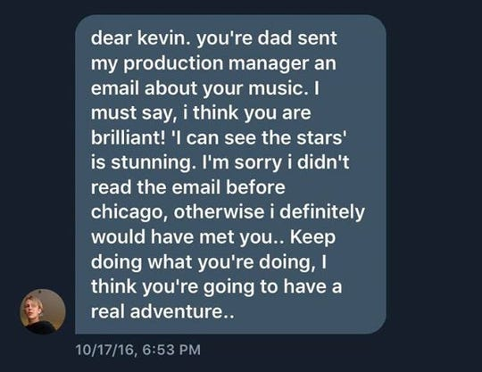 Tom Odell's encouraging Twitter message to Kevin Jones.