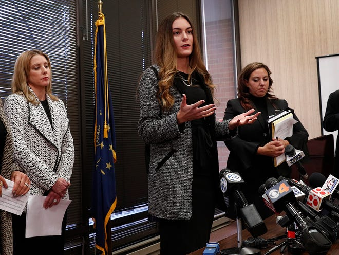 Niki DaSilva, one of the four women accusing Curtis Hill of sexual harassment, speaks to the media. Dan Sigler, the special prosecutor investigating allegations against Attorney General Curtis Hill, announced that he will not pursue charges against Hill during a news conference Tuesday, Oct 23, 2018.