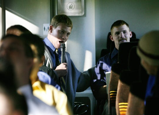 Then-Franklin College football player and broadcast major Matt Taylor entertains the bus with his imitations of IU announcer Don Fisher and Purdue radio announcer Joe McConnell on the way to play Hanover in November, 2007.