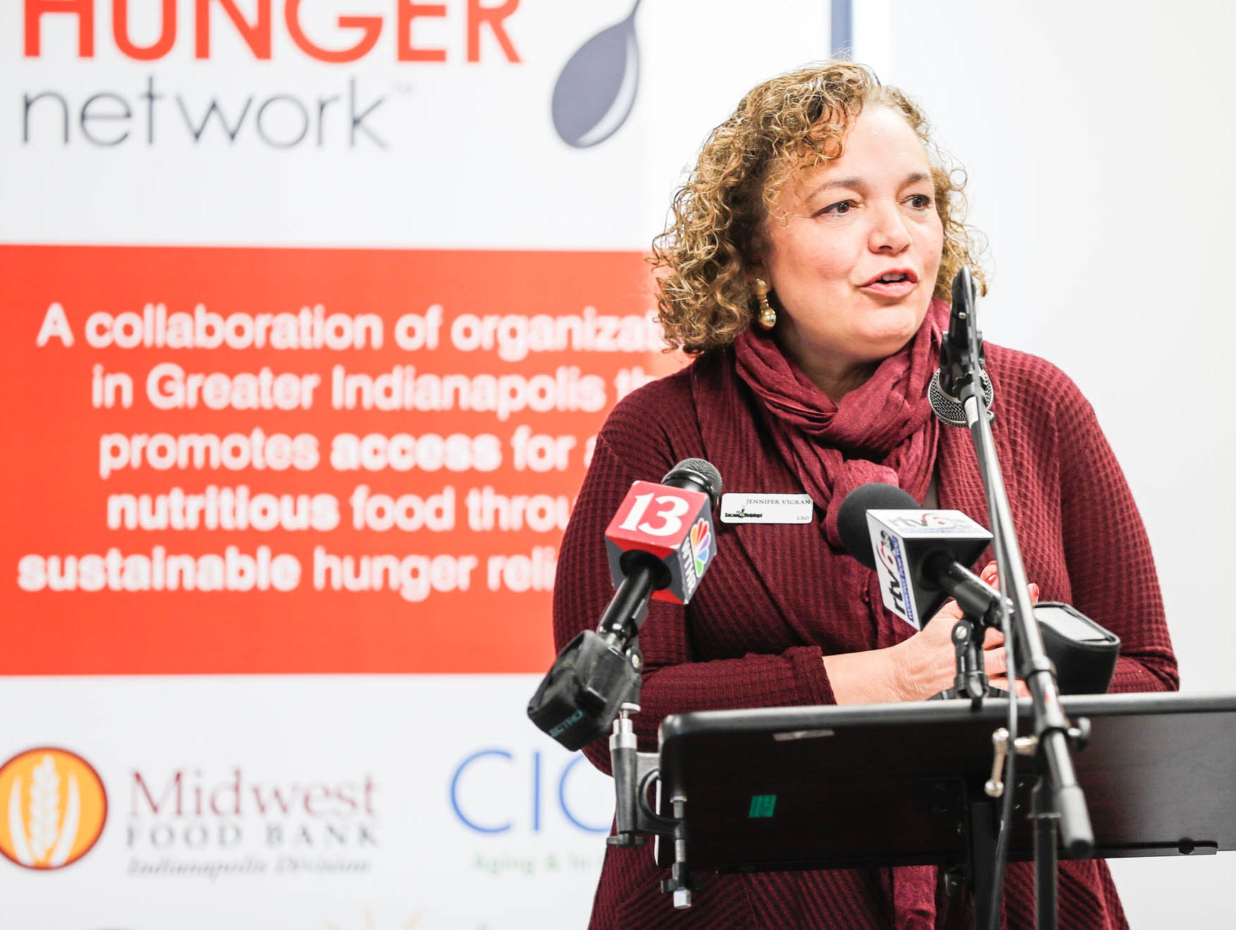 Second Helpings Chief Executive Officer, Jennifer Vigran, speaks during a press conference announcing the expansion of the Food Drop program, which partnered with Indiana's largest hunger relief agencies to make it easier for truck drivers to donate store-rejected food on Tuesday, Oct. 23, 2018.