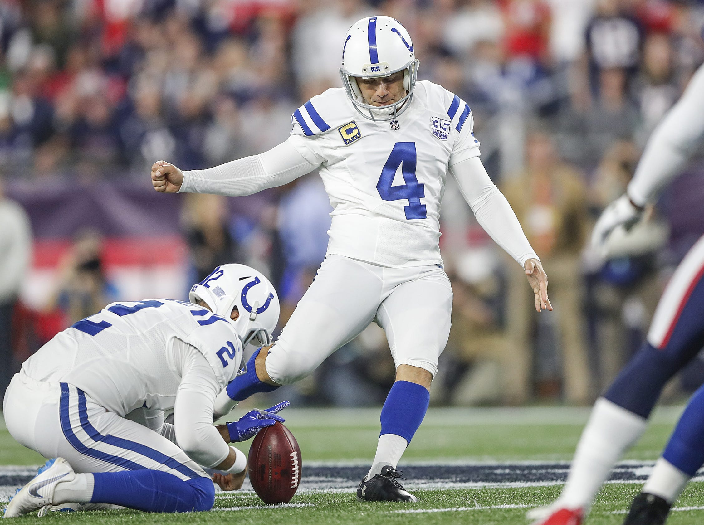 Indianapolis Colts kicker Adam Vinatieri (4) kicks a 54-yard field goal in the second quarter at Gillette Stadium in Foxborough, Mass., Thursday, Oct. 4, 2018.