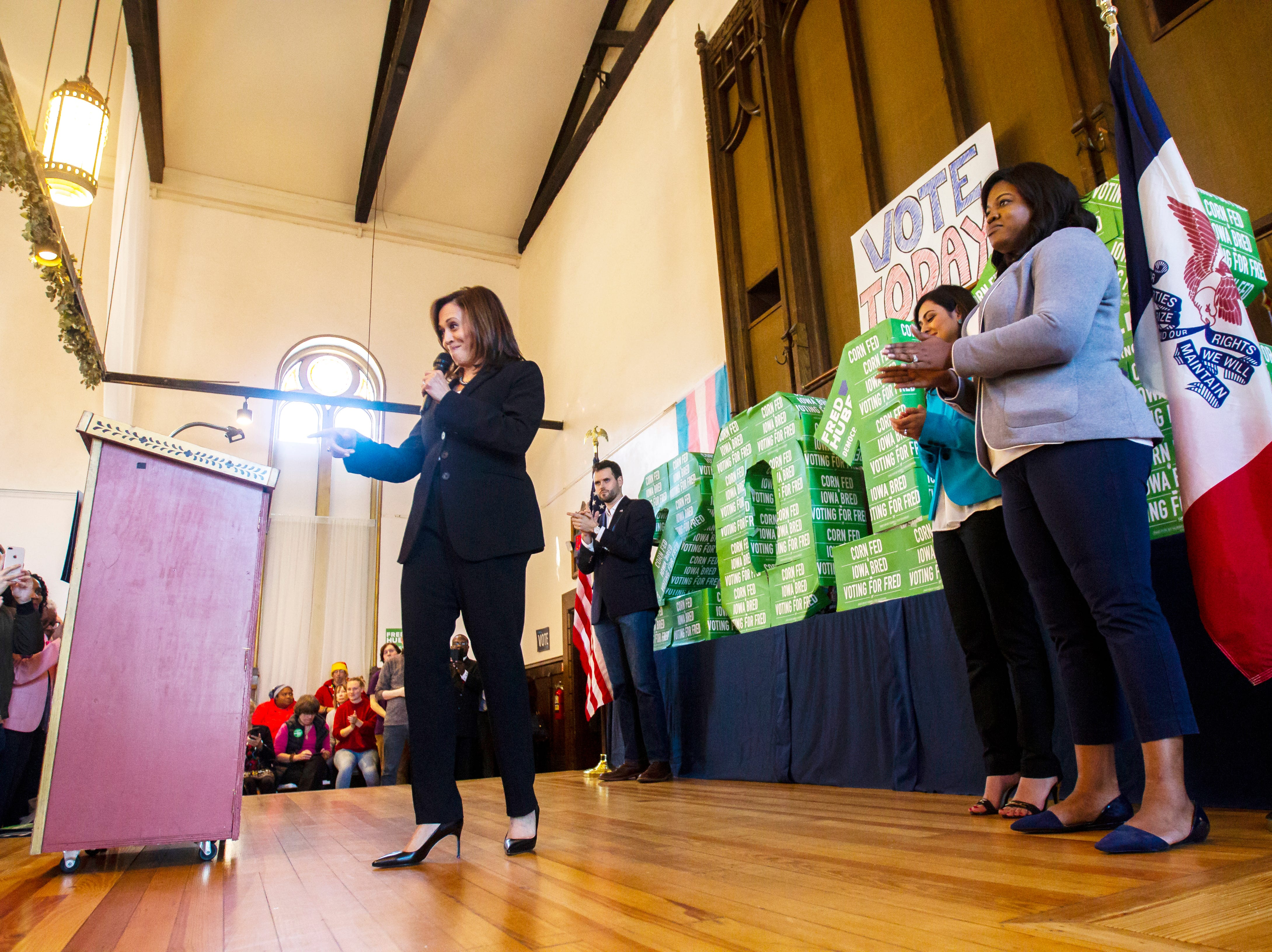 """Sen. Kamala Harris, D-CA, speaks during a """"All Hands on Deck"""" event on Tuesday, Oct. 23, 2018, at Old Brick in Iowa City."""