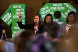 California Senator Kamala Harris speaks during an event in Iowa City at Old Brick.