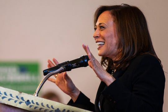 "Sen. Kamala Harris, D-CA, speaks during a ""All Hands on Deck"" event on Tuesday, Oct. 23, 2018, at Old Brick in Iowa City."