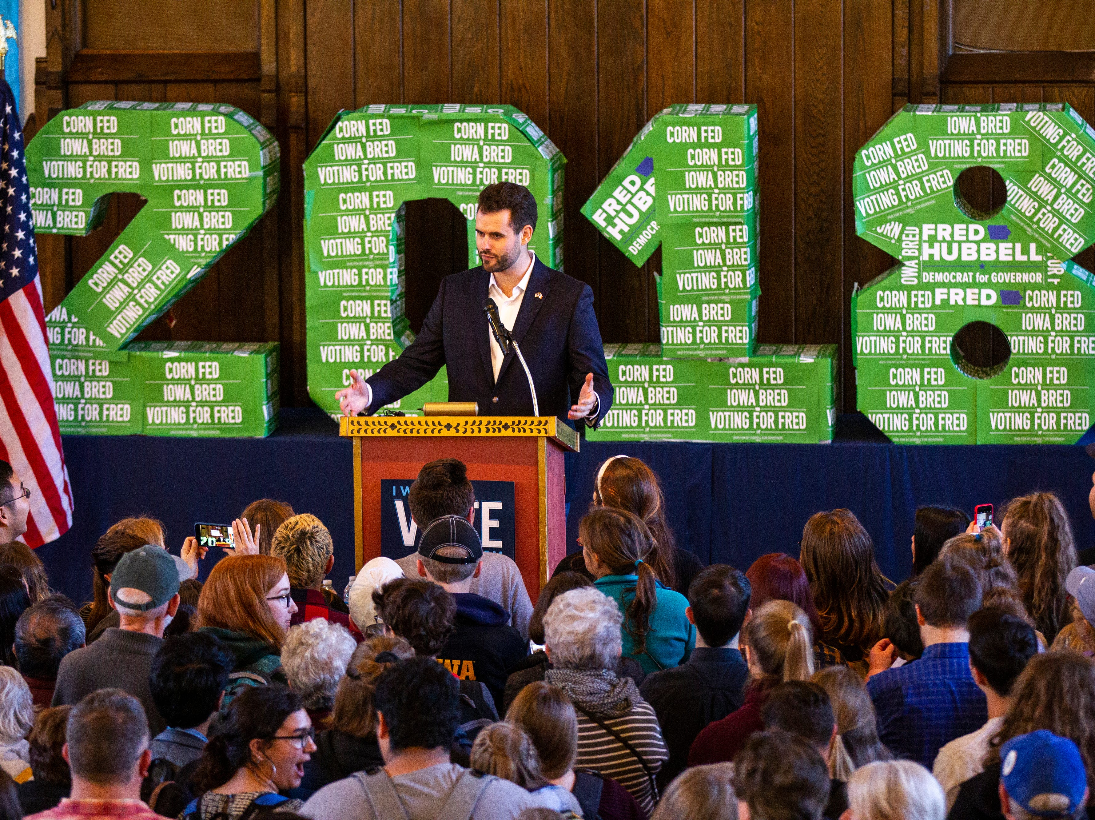 """Zach Wahls, Iowa Senate District 37 candidate, speaks during a """"All Hands on Deck"""" event on Tuesday, Oct. 23, 2018, at Old Brick in Iowa City."""