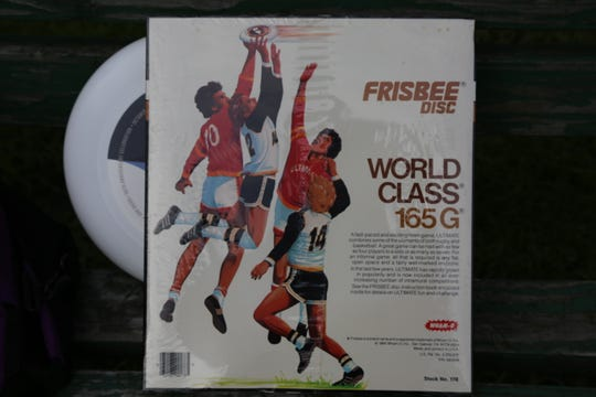 Paul Brenner said this image of a person catching a disc that appeared on the back of packaging materials for frisbees is based off a photo that was taken of him catching a disc during a game.