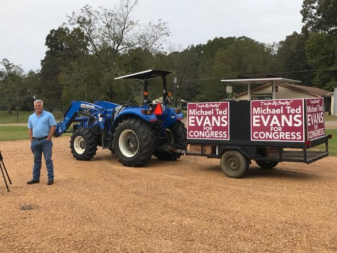 """Michael Ted """"Big Country"""" Evans has begun his tractor tour in Mississippi for an open House seat."""