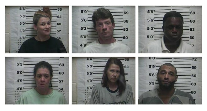 Six people were arrested Oct. 15 in a drug search of two Belmont Street apartments in Weakley County.