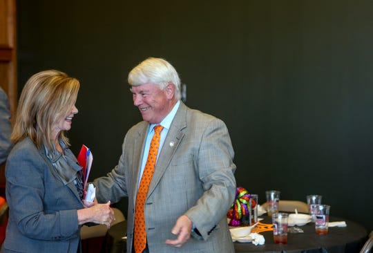 Representative Jimmy Eldridge, District 73, speaks to U.S. Representative Marsha Blackburn during a visit by Republican U.S. Senate candidate Marsha Blackburn at Southwest Tennessee Development District in Jackson, Tenn., on Tuesday, Oct. 23, 2018.