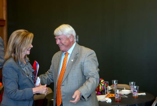 Representative Jimmy Eldridge, District 73, speaks to U.S. Representative Marsha Blackburn during a visit by Republican U.S. Senate candidate Marsha Blackburn at Southwest Tennessee Development District in Jackson, Tenn., on Tuesday, Oct. 23, 2018.