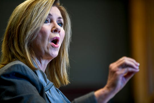 U.S. Sen. Marsha Blackburn speaks while campaigning at Southwest Tennessee Development District in Jackson in October.