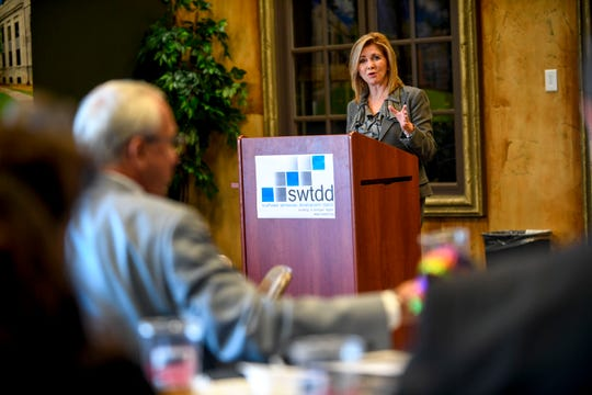 U.S. Representative Marsha Blackburn speaks to members of SWTDD during a visit by Republican U.S. Senate candidate Marsha Blackburn at Southwest Tennessee Development District in Jackson, Tenn., on Tuesday, Oct. 23, 2018.