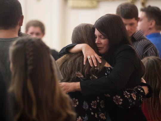 "Elise Brown receives friends at her daughter, Angelina ""Gia"" Givens' funeral services at Berry Lynnhurst Funeral Home on Monday, October 22, 2018."
