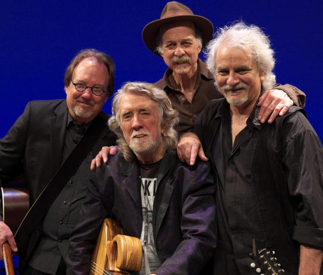 John McEuen, second from left, and the String Wizards will perform Friday night at the Delphi Opera House.
