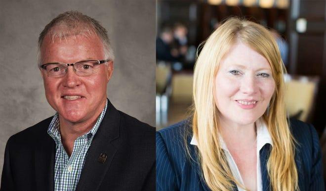 District 2 candidates Republican Roland Winger and Democrat Erica Beumel.