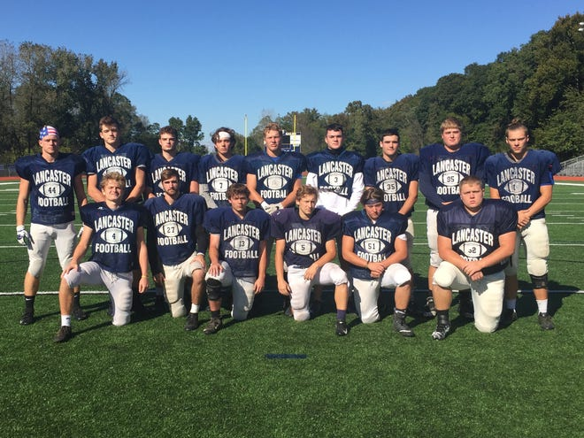 Lancaster will host Reynoldsburg at 7 p.m. Thursday at Fulton field and will on its senior football players. Front row, left to right: Isaac Oatney, A.J. Cook, Tony Curry, Noah Greulich, Jackson Rienschield and Vince Albertini. Second row, L-R: Alex Widener, Reese Burwell, Lucas Gauerke, Tyler Monk, Jake Richards, Ethan Poe, Payton Harris, Nate Weber and Mason Hamilton.
